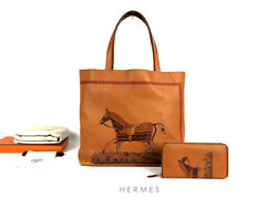Used HERMES Double Sens 45 Clemence Leather Tote Bag Round Zip Wallet Set Rare