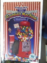 New In Box Vintage Red Carousel King 15 Gumball Machine Telephone Un-used Box