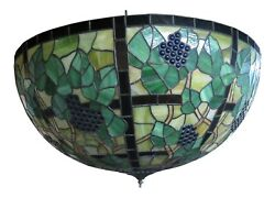 F47457ec Large Vintage Leaded Stained Glass Chandelier Grapevine