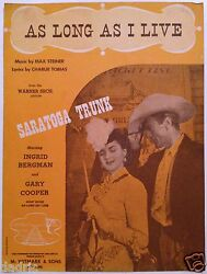 1944 Saratoga Trunk Movie Sheet Music As Long As I Live Gary Cooper