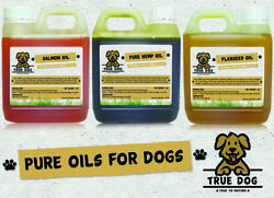 Pure Oils For Dogs 1 Litre - Hemp Oil Salmon Oil Or Flaxseed Oil - 1000ml