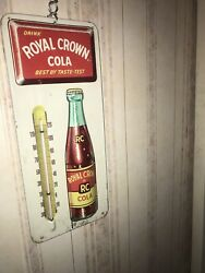 Vintage 1950and039s Rc Royal Crown Cola Soda Pop Embossed Metal Thermometer Signnice