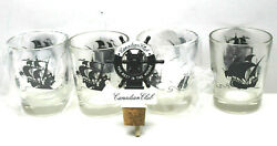 5pc Cutty Shark Canadian Club Whiskey Whisky Glasses +pour Bottle Top Bar Decor