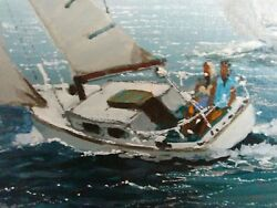 Kerry hallam Vintage Sailboats Oil  acrylic? On Canvas framed best offer