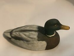 Vintage Mallard Duck Decoy Wooden Hand Carved Glass Eyes Painted 12 X5.5 Inches