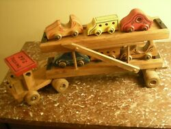 Wooden Vintage Handmade Toy Truck Flatbed Carrier With Six Custom Made Cars