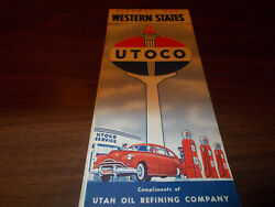 1940s Utoco Western Us Vintage Road Map / Nice Cover Art