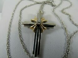 14k Solid White Gold Cross Diamond Necklace By O.c 18 L. Sale-save 600. 1359