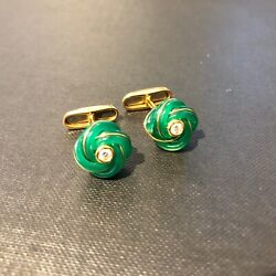 Agate And Diamond 18ct Yellow Gold Knot Cufflinks By Mccabe And Mccarty