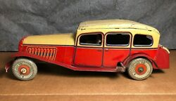 Rare Vintage Mettoy   1940s   11 Tin Large Wind Up Car   Motor Works   England