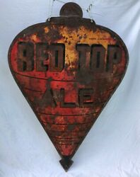 Vintage Sheet Metal Red Top Ale Beer Sign Shipping Available