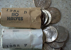 1988 P And D Bu Kennedy Half Dollar Roll 40 Coins Total Two Rolls 20 Coins Each