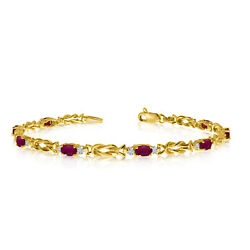 10K Yellow Gold Oval Ruby and Diamond Bracelet