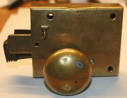 Antique Scottish Brass Door Lock with Knob and Key