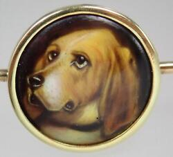 Antique Victorian 18K Gold Basset Hound Enamel Painting Dog Brooc