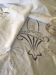 Antique Vintage Embroidered White Linen Tablecloth Bridal Basket And Butterflies