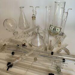 Lot Of Antique Vintage Glass Lab Coil Tubes Condensers Flask Beaker Inter-joint