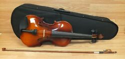 Unbranded Wooden Violin With Bow Case And Chin Rest Musical Instrument Read