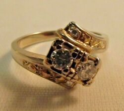 14k Blanc Solide Or .40ct. Bague Diamant Taille 7. Sale-save 900. R170