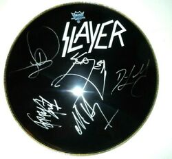 SLAYER~Signed KERRY KING~JEFF HANNEMAN~DAVE LOMBARDO~TOM~Drumhead~18 inch REMO