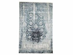 6and039x9and0392 Blue Broken Erased Design Wool And Silk Handknotted Oriental Rug G46285