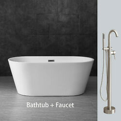 WOODBRIDGE White 59quot; Acrylic Freestanding Bathtub B0014 with B N Faucet F0001