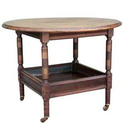 Fine Antique English Aesthetic Movement Mahogany Round 2-tier Side Table C. 1880