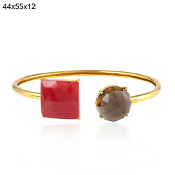 Memorial Gift Ruby Smokey Quartz Cuff Bangle Bracelet Solid Yellow Gold Jewelry