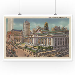 New York, NY - Public Library View (Art Posters, Wood & Metal Signs, Totes)