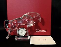 Baccarat Exquisite Crystal Jumping Cheval Clock Horse Mint Condition In Box