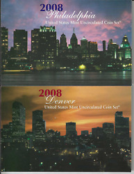 2008 Us Mint Unccirculated Coin Set P And D 28 Pc