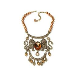 Heidi Daus Signed Queen Of The Jungle Beaded Crystal Drop Necklace Ret 499.95