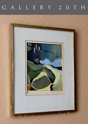 Joan Gunther Mid Century Modern Abstract Painting Watercolor Art Vtg