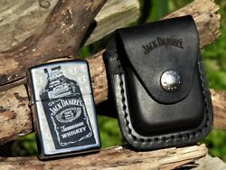 Jack Daniels Bottle Zippo Lighter And Leather Belt Pouch Gift Set - Old No. 7