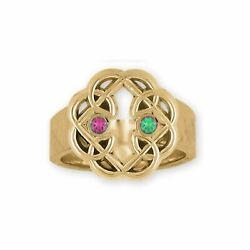 Celtic Father And Daughter Jewelry 14k Gold Handmade Celtic Ring Mfc2-2srg