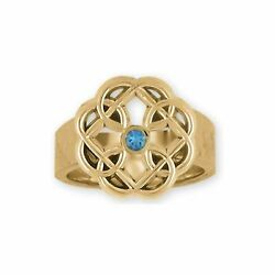 Celtic Father And Daughter Jewelry 14k Gold Handmade Celtic Ring Mfc2-srg