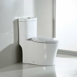 WOODBRIDGE T 0033 Dual Flush Elongated One Piece Toilet with Soft Closing Seat