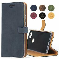 Google Pixel 3A XL Wallet Case Genuine Leather Viewing Stand  Card Slots Navy