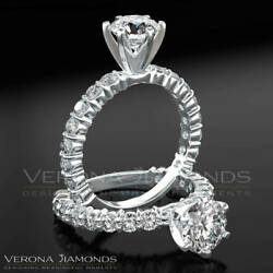 Round Cut Diamond Ring 1 3/4 Ct Pave Set Solitaire With Side Stones