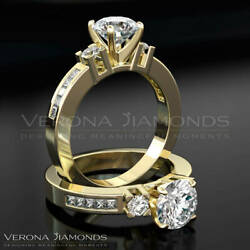 D Vvs Solitaire With Accents Enhanced Diamond Ring 18 Karat Yellow Gold