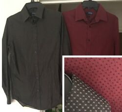 Nice Men's Size Small Murano Dress Shirts Button Long Sleeve Red Brown Usa S