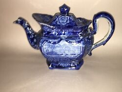 Lc2 Historical Staffordshire Eagle Over Panel Teapot Blue Transfer Ca. 1825