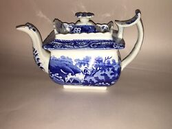 Lb3 Historical Staffordshire Blue Teapot Spotted Dog Rabbit Hunting China 1825