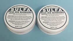 2 Pomada Sulfa First Aid Antibiotic 1.4 Oz. Prevents Infection In Minor Cuts.