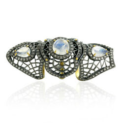 Rainbow Moonstone 2.11ct Pave Diamond Sterling Silver Full Finger Knuckle Ring