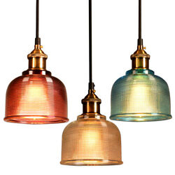 Industrial Glass Pendant Light Color Plating Ceiling Lamp Shade Hanging Fixtures $24.96