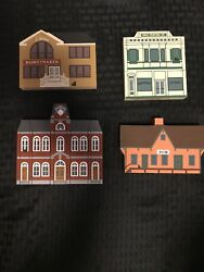 Cats Meow 1988 Liberty Street Series Set Lot Of 4 Wooden Vintage Collectibles