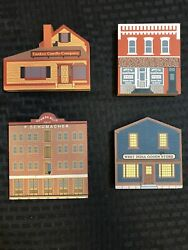 Cats Meow Village Market Street Series 1989 Vintage Wooden Collectibles Lot Of 4