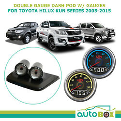 Saas Twin Gauge Dash Pod W/ Dual Boost Ex Temp And Oil Water For Hilux Kun 2005-15