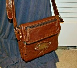 Liz Claiborne Crossbody Messenger Faux Leather Saddle Brown Bag Rugged Purse $19.99